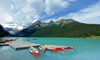 Canoes Docked on Lake Louise